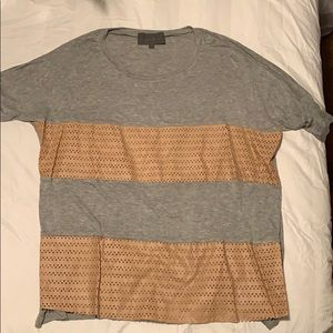 Anthropologie grey and tan slouchy shirt